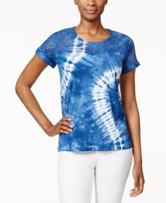 Style & Co. Petite Lace-Trim Tie-Dyed T-Shirt, Only at Vogily