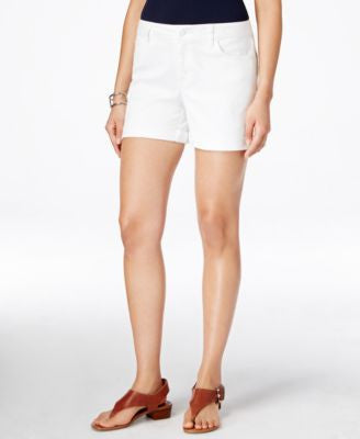 Tommy Hilfiger White Wash Cuffed Denim Shorts