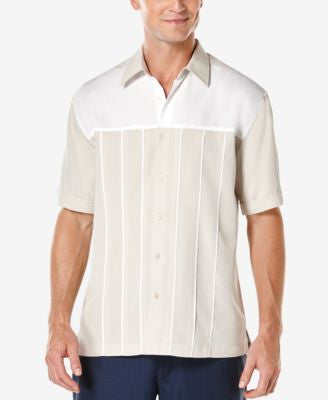 Cubavera Men's Colorblocked Pleated-Panel Short-Sleeve Shirt