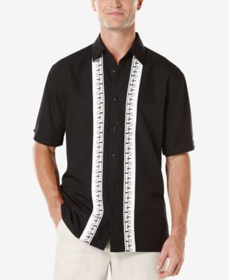 Cubavera Men's Texture Embroidered Panel Short-Sleeve Shirt