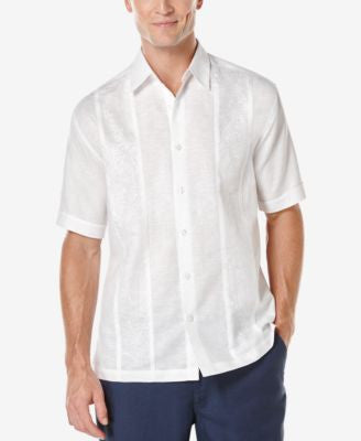 Cubavera Men's Tonal Embroidered-Panel Short-Sleeve Shirt