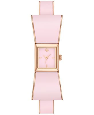kate spade new york Women's Kenmare Pink Enamel and Rose Gold-Tone Stainless Steel Half-Bangle Brace