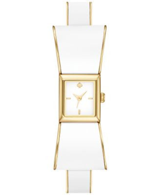 kate spade new york Women's Kenmare White Enamel and Gold-Tone Stainless Steel Half-Bangle Bracelet