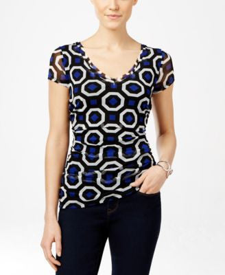 INC International Concepts Printed V-Neck Blouse, Only at Vogily