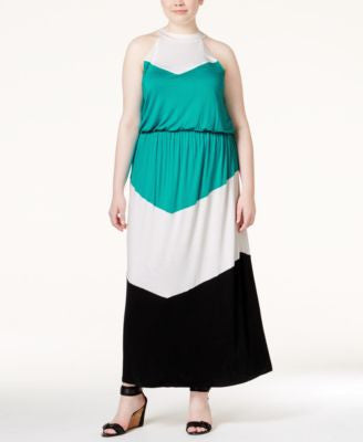 ING Plus Size Colorblocked Knit Halter Maxi Dress