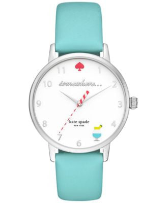 kate spade new york Women's Metro Island Turquoise Leather Strap Watch 34mm KSW1104