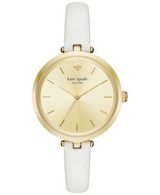 kate spade new york Women's Holland White Leather Strap Watch 34mm KSW1117