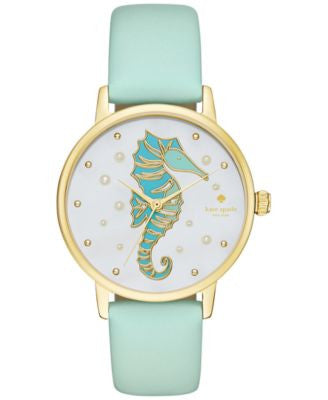 kate spade new york Women's Metro Mint Splash Leather Strap Watch 34mm KSW1102