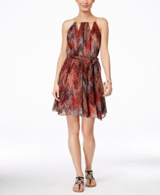 Thalia Sodi Printed Halter Chain-Neck A-Line Dress, Only at Vogily