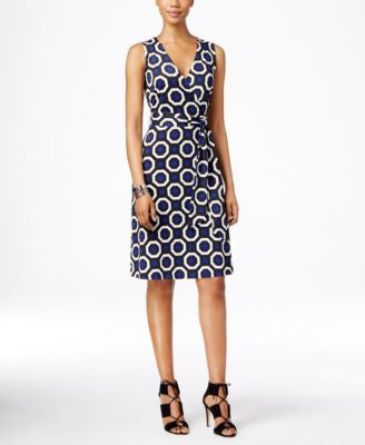 INC International Concepts Petite Sleeveless Printed Wrap Dress, Only at Vogily