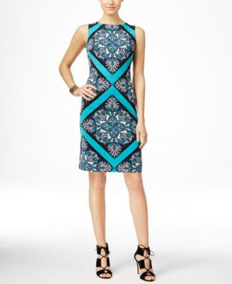 INC International Concepts Sleeveless Printed Sheath Dress, Only at Vogily