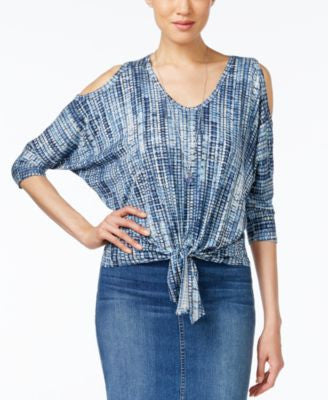 Karen Kane Printed Cold-Shoulder Tie-Hem Top