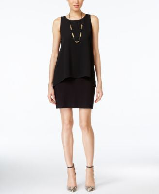 Karen Kane Sleeveless Chiffon-Overlay Sheath Dress