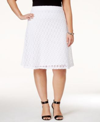 Alfani Plus Size Crocheted A-Line Skirt, Only at Vogily