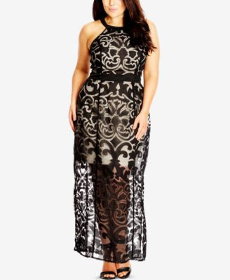 City Chic Plus Size Burnout Illusion Maxi Dress