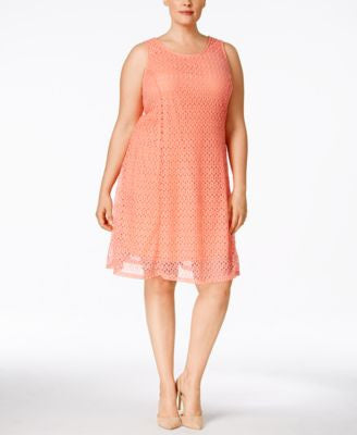 NY Collection Plus Size Sleeveless Lace Shift Dress
