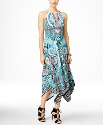 INC International Concepts Printed Keyhole Maxi Dress, Only at Vogily