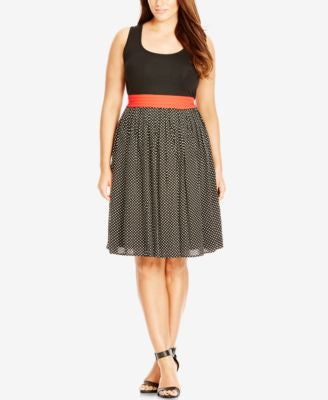 City Chic Plus Size Contrast Dot-Print Dress