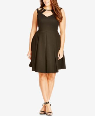 City Chic Plus Size Cutout Fit & Flare Dress