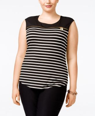Calvin Klein Plus Size Zip-Detail Striped Top