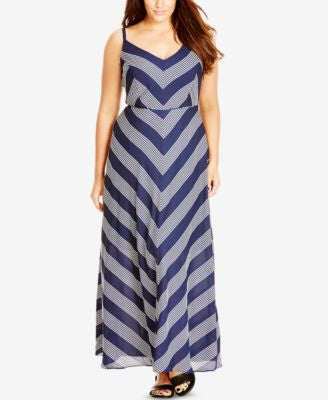City Chic Plus Size Chevron-Print Maxi Dress