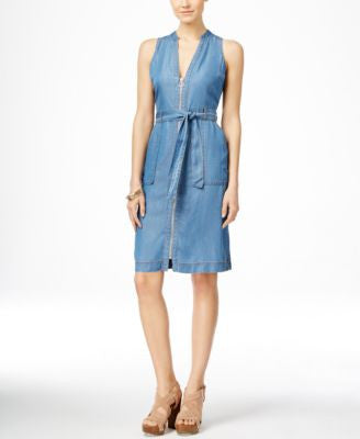 INC International Concepts Sleeveless Front-Zip Denim Dress, Only at Vogily