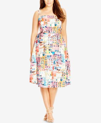 City Chic Plus Size City-Print Fit & Flare Dress
