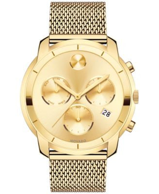 Movado Men's Swiss Chronograph Bold Gold-Tone Ion-Plated Stainless Steel Mesh Bracelet Watch 44mm 36