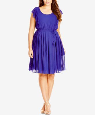 City Chic Plus Size Flutter-Sleeve Fit & Flare Dress