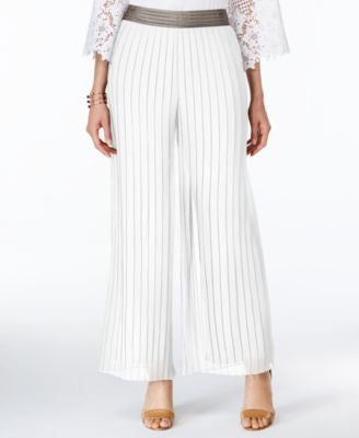 Alfani Metallic-Trim Pleated Palazzo Pants, Only at Vogily