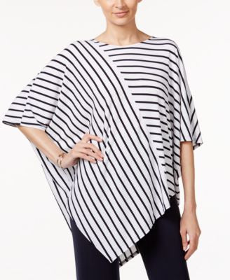 Alfani V-Hem Striped Poncho Top, Only at Vogily