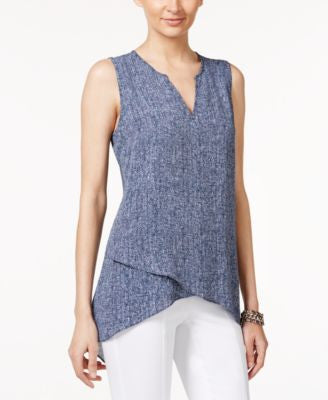 Alfani Tweed-Print Crossover Top, Only at Vogily