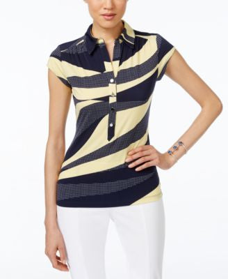 Alfani Petite Printed Polo Top, Only at Vogily