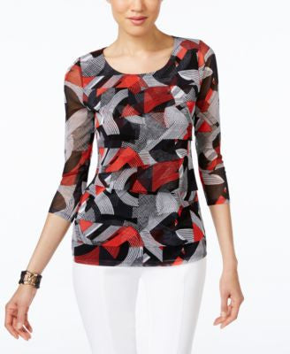 Alfani Printed Tiered Mesh Top, Only at Vogily