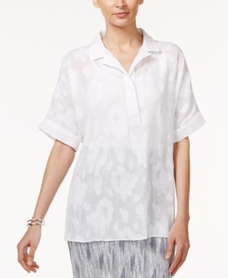 Alfani Petite Oversized Jacquard Shirt, Only at Vogily