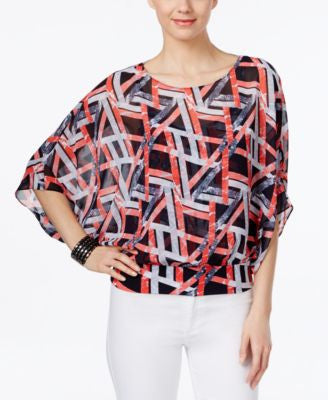 Alfani Petite Printed Blouson Top, Only at Vogily