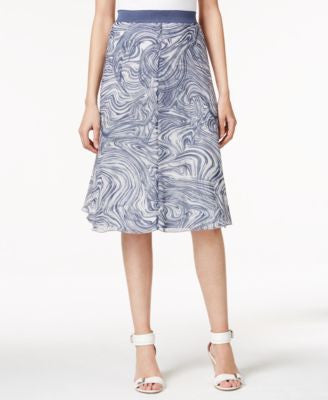 Alfani Printed A-Line Midi Skirt, Only at Vogily