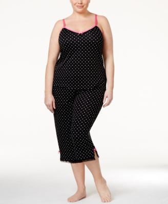 Jenni by Jennifer Moore Plus Size Hearts and Dots Tank & Capri Pajama Pants Sleep Separates, Only at