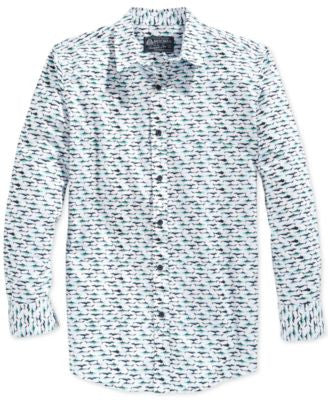 American Rag Men's Shark-Print Long-Sleeve Shirt, Only at Vogily