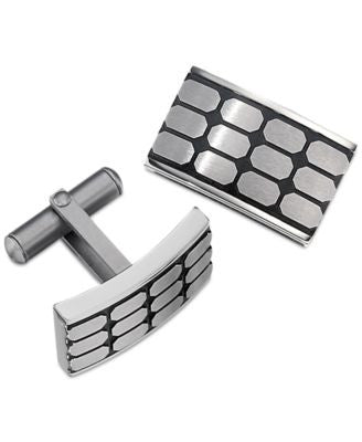 Men's Rectangular Patterned Cuff Links in Stainless Steel and Black Ion Plating