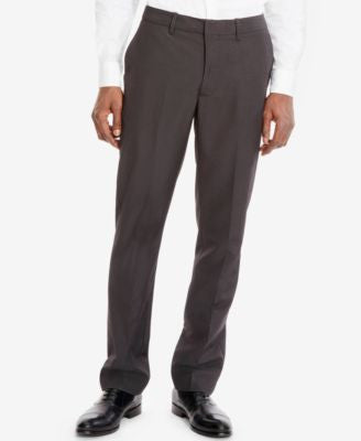 Kenneth Cole Reaction Solid Slim-Fit Flat-Front Pants