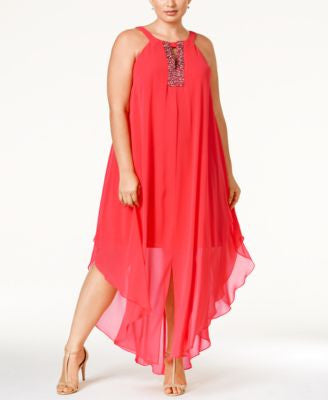 Betsy & Adam Plus Size Beaded Handkerchief-Hem Dress