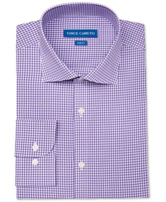 Vince Camuto Men's Slim-Fit Stretch Purple Gingham Dress Shirt
