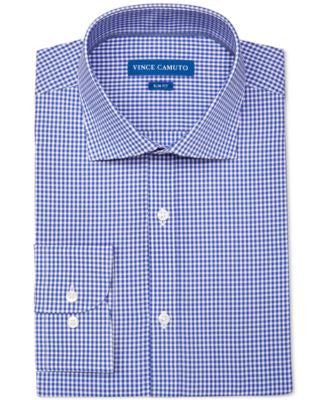 Vince Camuto Men's Slim-Fit Stretch Blue Gingham Dress Shirt