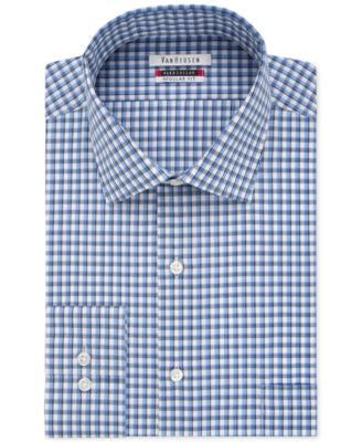 Van Heusen Men's Classic-Fit Flex-Collar Stream Blue Check Dress Shirt