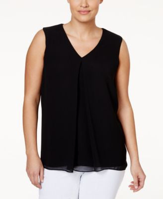 Calvin Klein Plus Size Front-Pleat Blouse