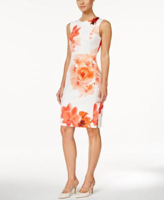 Calvin Klein Sleeveless Floral-Print Sheath Dress