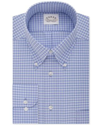 Eagle Men's Classic-Fit Non-Iron Blue Bay Check Dress Shirt