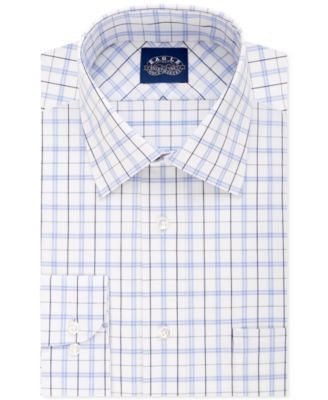 Eagle Men's Slim-Fit Non-Iron Riviera Blue Plaid Dress Shirt