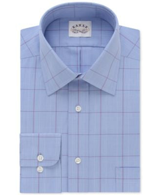 Eagle Men's Classic-Fit Non-Iron Ocean Mist Grid-Pattern Dress Shirt